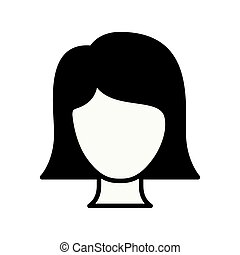 black silhouette thick contour of front view faceless woman with straight short hair