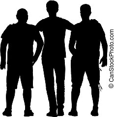 Black silhouette three men stand embracing on white background