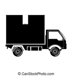 black silhouette transport truck with vagon vector...