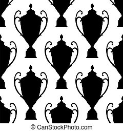 Black silhouette trophy cup seamless pattern