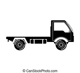 black silhouette truck transport with wheels vector...