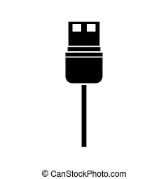 black silhouette usb wired connector vector illustration