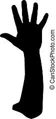 black , silhouette, van, handen, witte achtergrond