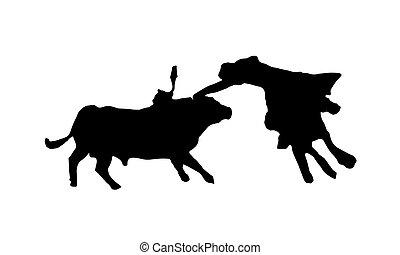 black , silhouette, van, stierenvechten, op wit, achtergrond.