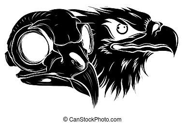 black silhouette Vector Bald Eagle or Hawk Head Mascot Graphic