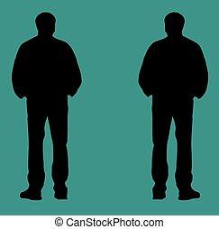 Black silhouette vector illustration - flat design, green ...
