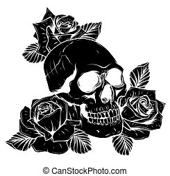 black silhouette Vector isolated illustration of a skull with roses and leaves