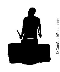 black silhouette vector of a musician playing the drums