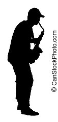 black silhouette vector of a musician playing the saxophone
