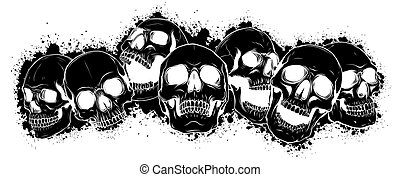 skull and crossbones. human skulls and bones with shallow depth of field