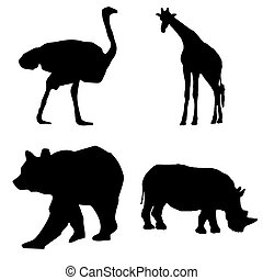 black silhouette wild animals vector set - ostrich, giraffe, bear, rhinoceros
