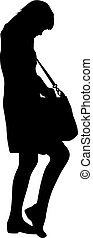 Black silhouette woman standing looking in a bag , people on white background