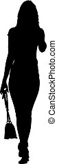 Black silhouette woman standing with a bag , people on white background