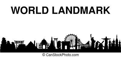 black silhouette world landmark white background