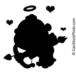 Black Silhouetted Cupid