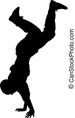 Black Silhouettes breakdancer on a white background