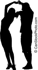 Black silhouettes Dancing on white background. Vector illustration