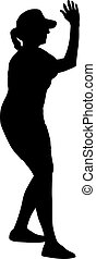 Black silhouettes dancing woman on white background