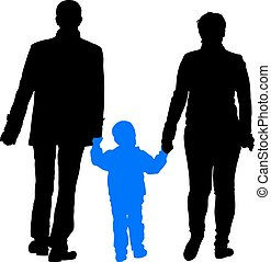 Black silhouettes Family on white background. Vector illustration.