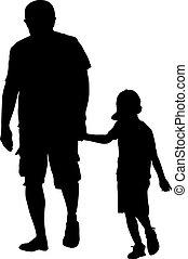Black silhouettes Family on white background. Vector illustration