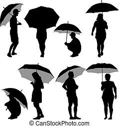 Black silhouettes man and woman under umbrella. Vector ...