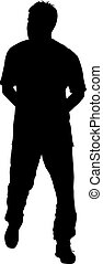 Black silhouettes man on white background. Vector illustration