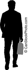 Black silhouettes man with a briefcase on white background. Vector illustration