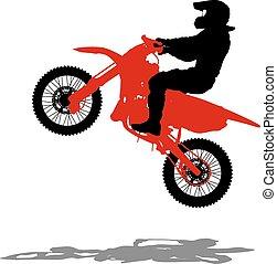 Black silhouettes Motocross rider on a motorcycle. Vector illust