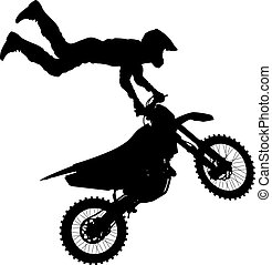 Black silhouettes Motocross rider on a motorcycle. Vector...
