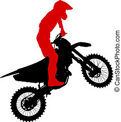 Black silhouettes Motocross rider on a motorcycle. Vector illust