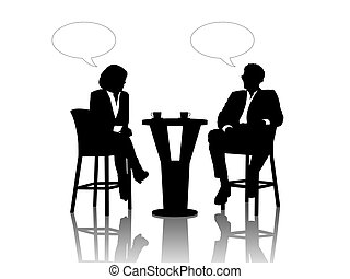 black silhouettes of a businessman and a businesswoman seated at the table drinking coffee and talking, vacant text bubbles above them