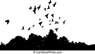black silhouettes of a flock of doves (Columba livia) flying over the trees on a white background.