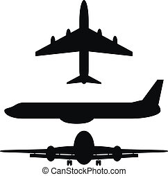 Black silhouettes of airplanes