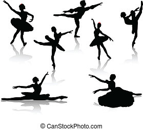 Black silhouettes of ballerinas
