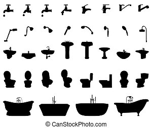 silhouettes of bathroom elements