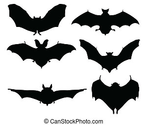 bats - Black silhouettes of bats on a white background, ...