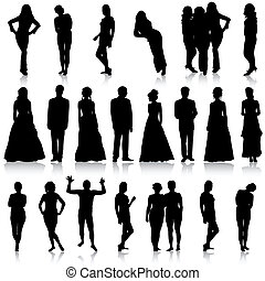 Black silhouettes of beautiful mans and womans on white...