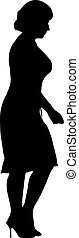 Black silhouettes of beautiful woman on white background. Vector illustration