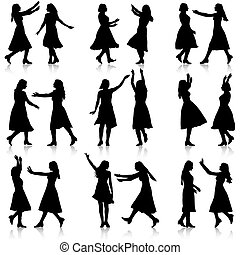Black silhouettes of beautiful womans on white background. Vecto
