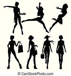 Black silhouettes of beautiful women