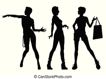 Black silhouettes of beautiful women