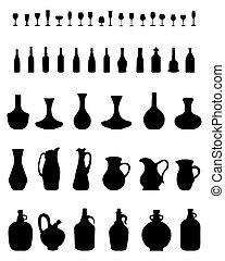 bowls, bottles and glasses