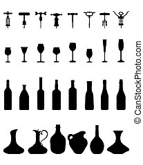 bottles, glasses and corkscrew