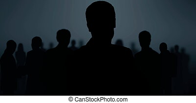 black silhouettes of business people