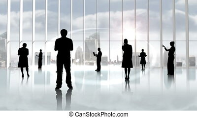 Black silhouettes of business