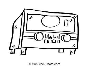 Black silhouettes of cartoon radio player