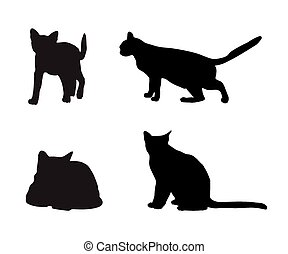 black silhouettes of cats