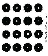 circular saw blades - Black silhouettes of circular saw...