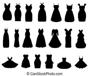 cocktail dresses - Black silhouettes of cocktail dresses,...