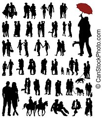 couples - Black silhouettes of couples, vector